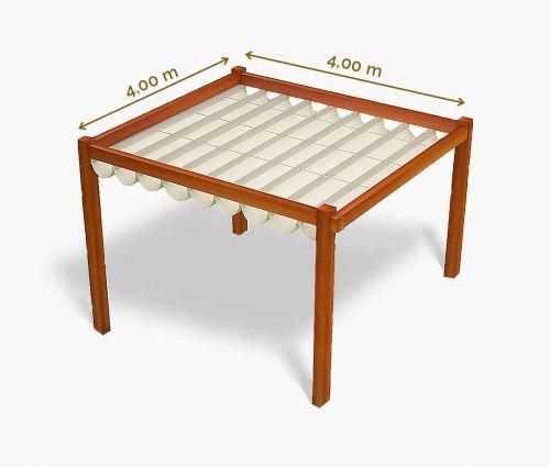 Store pergola 400 x 400 cm - imperméable - blanc